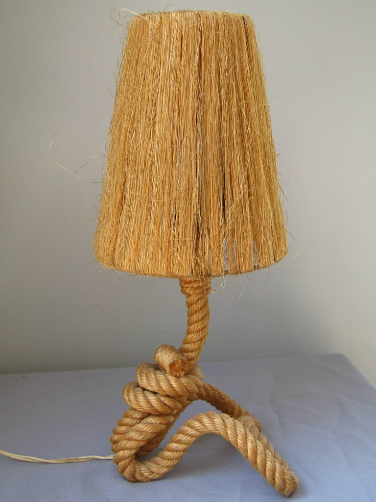 Midcentury Rope Table Desk Lamp Audoux and Minet, France, 1960s For Sale 3