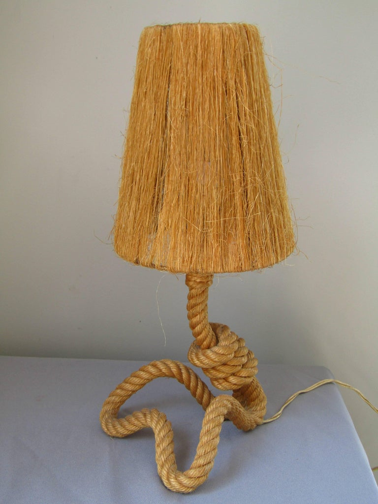Midcentury Rope Table Desk Lamp Audoux and Minet, France, 1960s For Sale 4