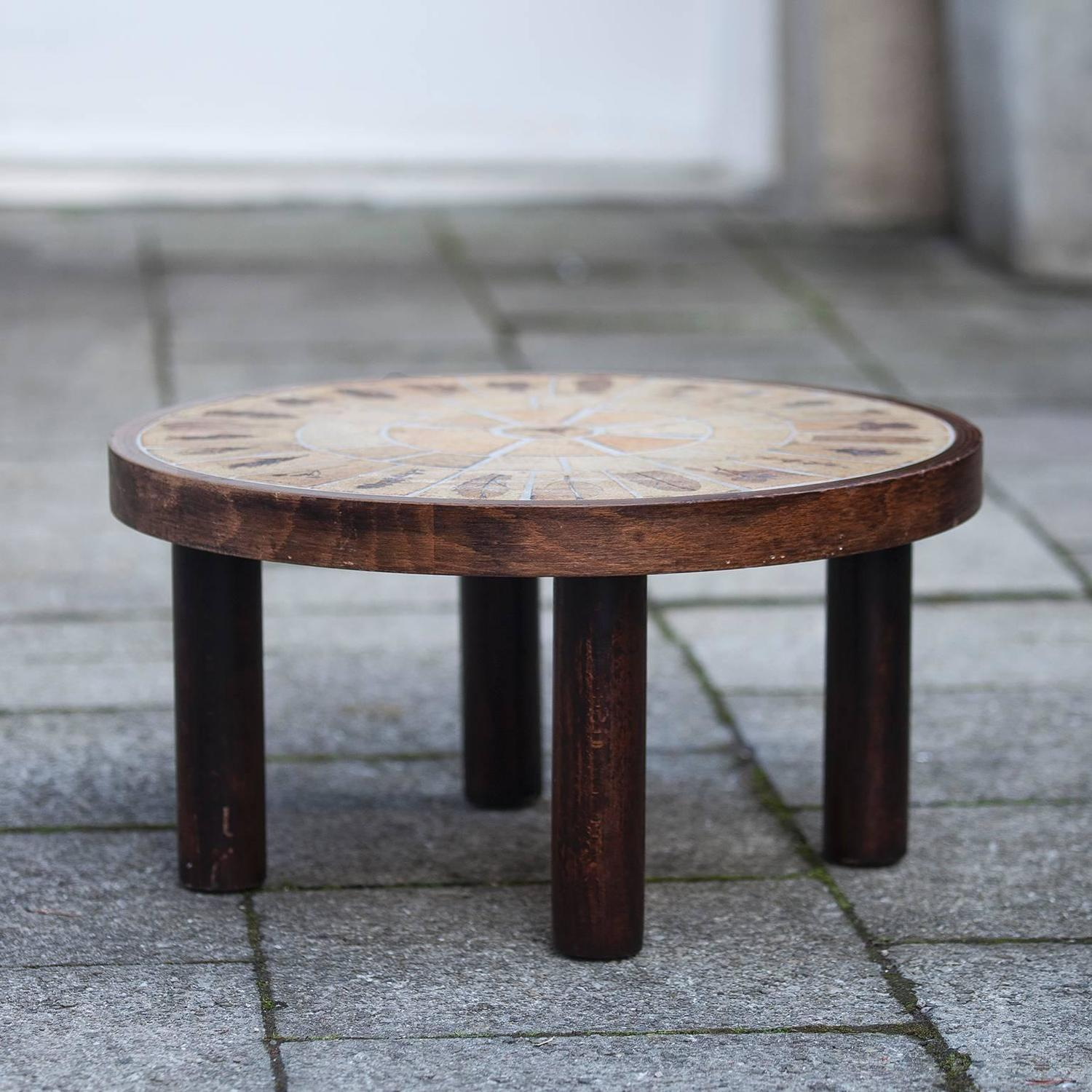 Roger Capron Signed Small Ceramic Coffee Table For Sale at 1stdibs