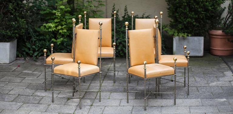 Set of six Maison Jansen style dining chairs.