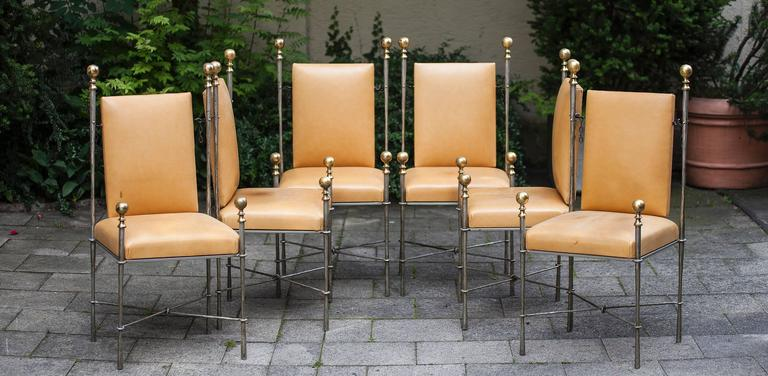 Hollywood Regency Set of Six Maison Jansen Style Dining Chairs For Sale