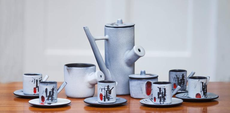 Vallauris ceramic tea set, France, 1960.