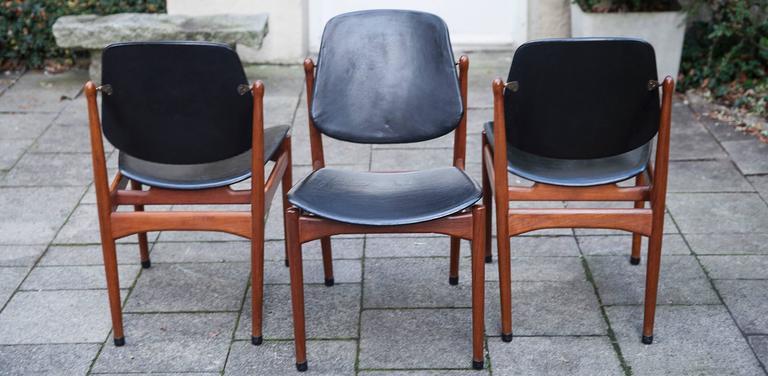 Scandinavian Modern Three Arne Vodder Teak Dining Chairs for France & Dar For Sale