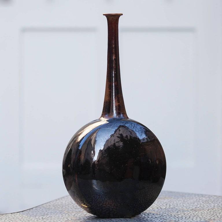 Gerald Weigel Art Pottery Brown Glazed Ceramic Vase Set of Three 4