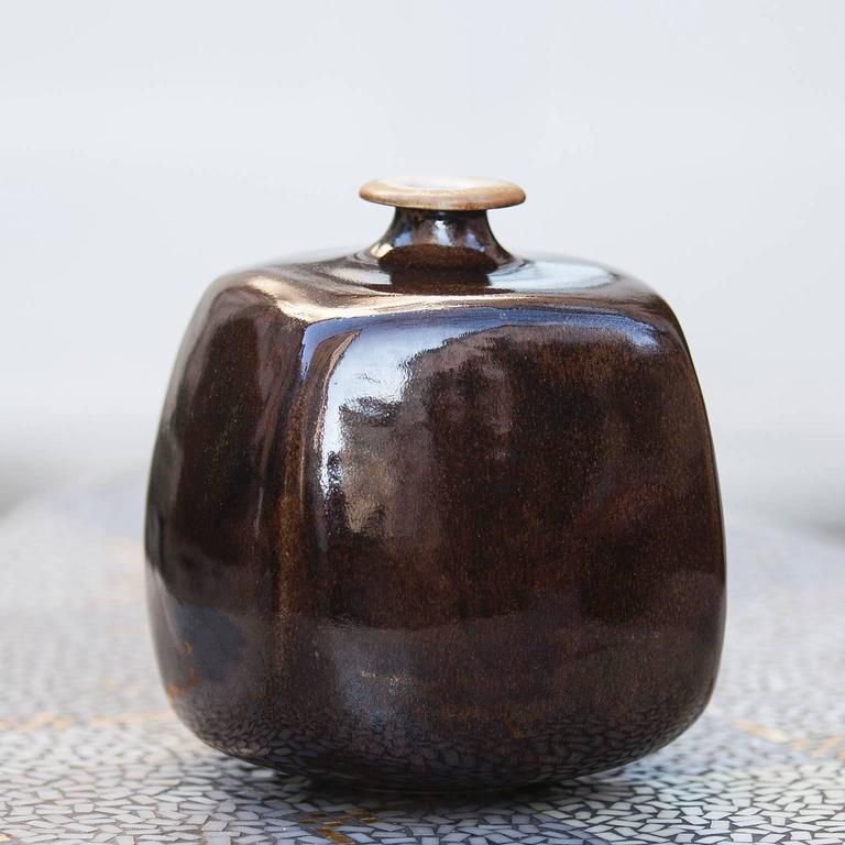Gerald Weigel Art Pottery Brown Glazed Ceramic Vase Set of Three 8