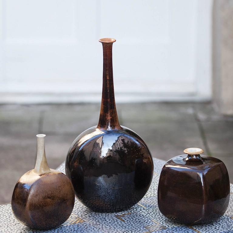 Gerald Weigel Art Pottery Brown Glazed Ceramic Vase Set of Three 3