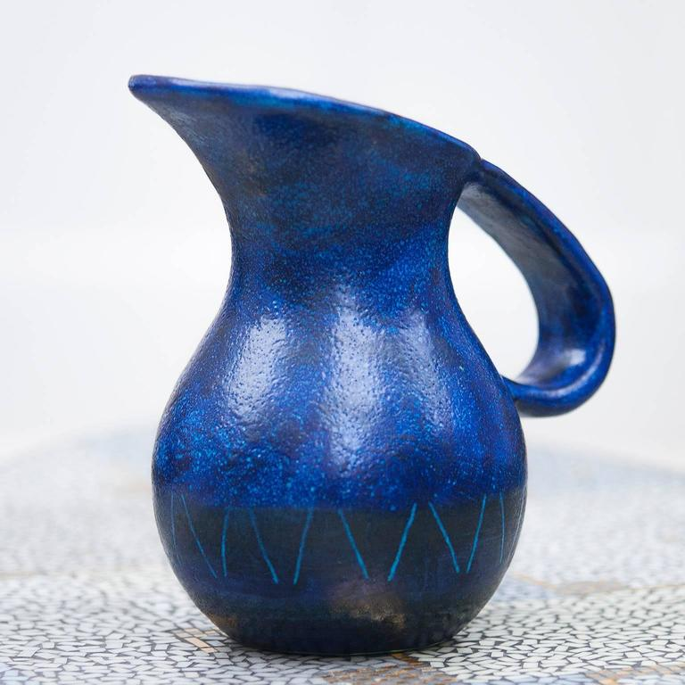 Bruno Gambone Ceramic Pitcher Blue Italy 1958 For Sale At 1stdibs