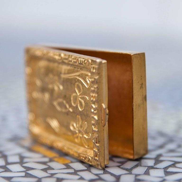 Mid-20th Century Line Vautrin Gilt Bronze Box Signed For Sale