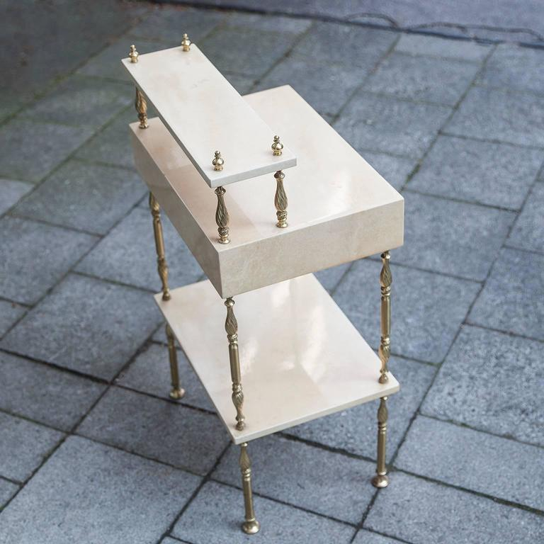 Aldo Tura Cream Goatskin Nightstand Side Table 4