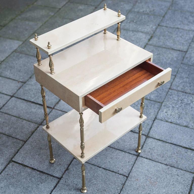 Aldo Tura Cream Goatskin Nightstand Side Table 6
