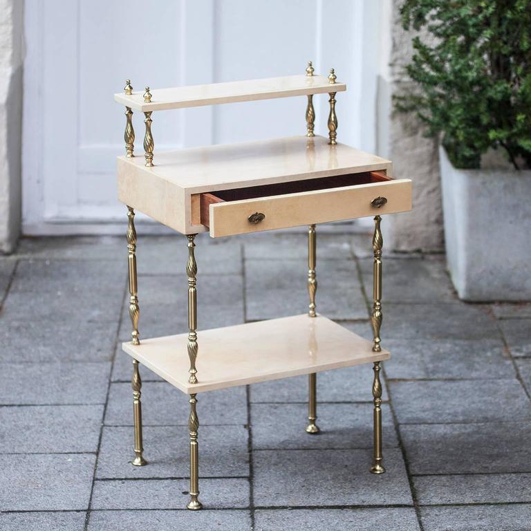 Aldo Tura Cream Goatskin Nightstand Side Table 2