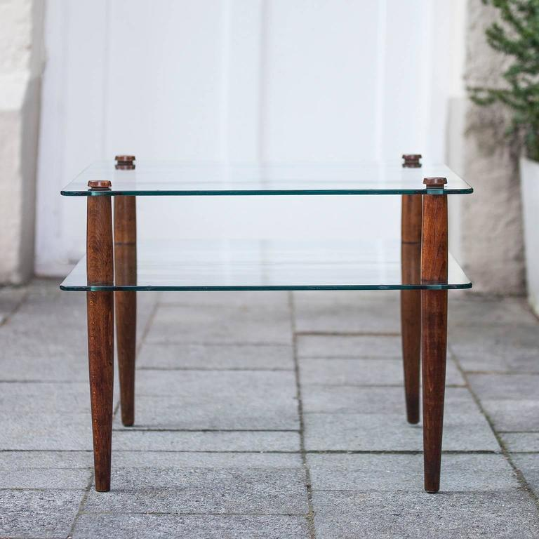 Tempered Side Table Attributed to Fontana Arte Wooden Legs, 1940 For Sale