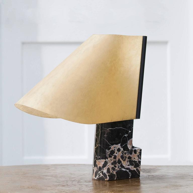 Mid-Century Modern Stilnovo Table Lamp Black Marble Base Signed For Sale
