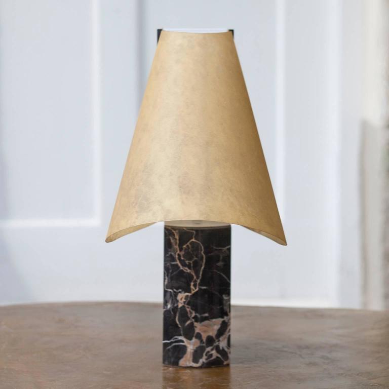 Italian Stilnovo Table Lamp Black Marble Base Signed For Sale
