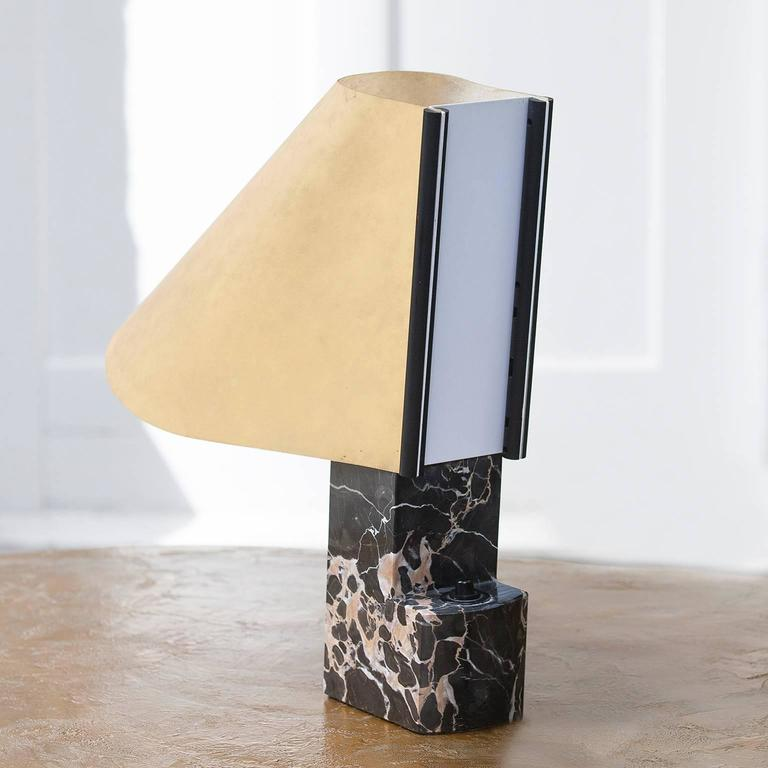 Stilnovo Table Lamp Black Marble Base Signed In Excellent Condition For Sale In Munich, DE