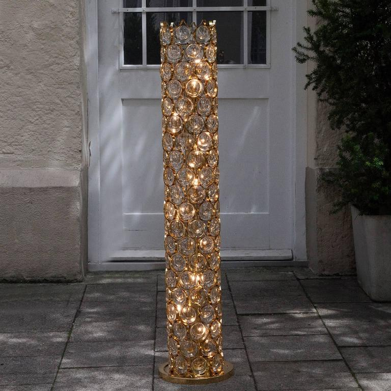 Beautiful Palwa Gilt Metal Jewel Crystal Floor Lamp 5