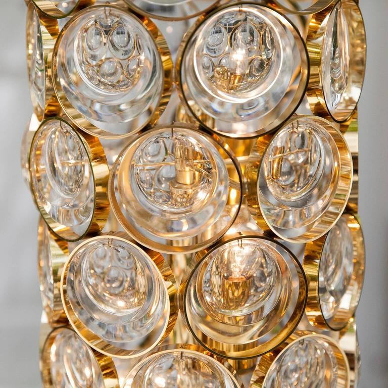 Beautiful Palwa Gilt Metal Jewel Crystal Floor Lamp For