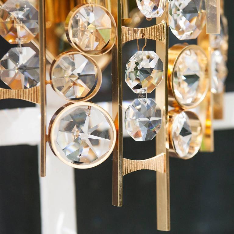 Metalwork Huge Palwa Gilt Metal Jewel Crystal Sconces For Sale