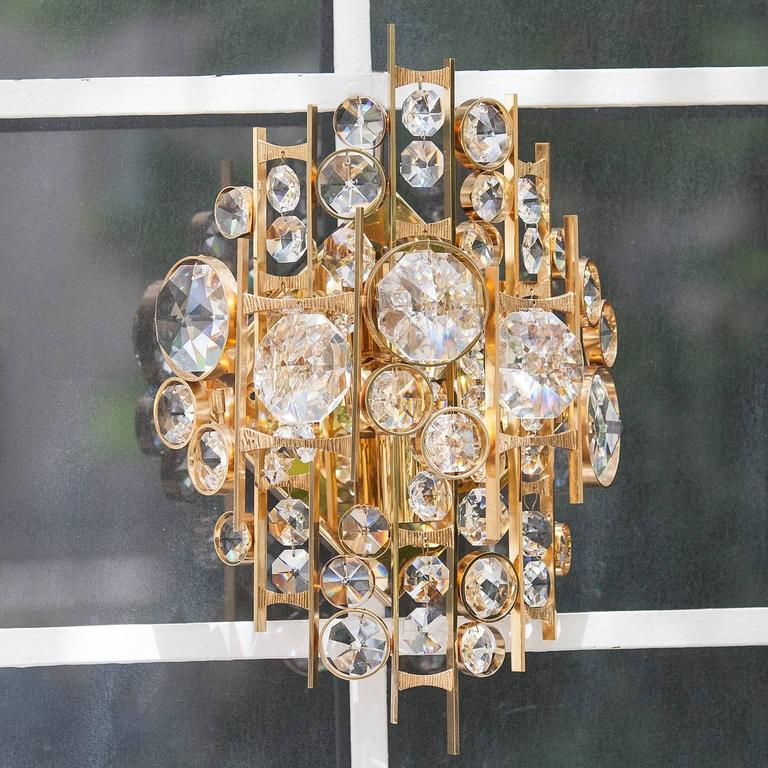 Hollywood Regency Huge Palwa Gilt Metal Jewel Crystal Sconces For Sale