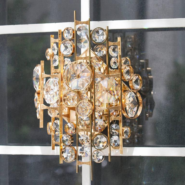 Huge Palwa Gilt Metal Jewel Crystal Sconces 4