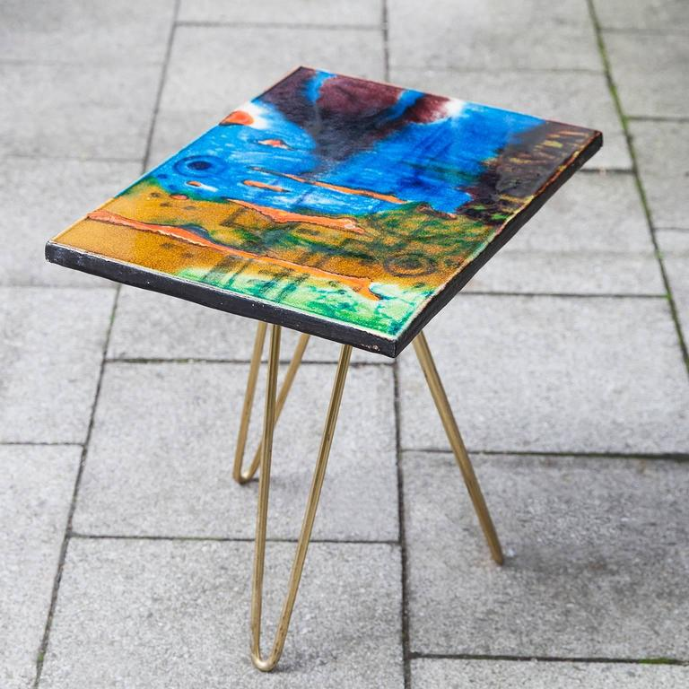 Colorful Ceramic Tripod Side Table, Italy, 1955 2