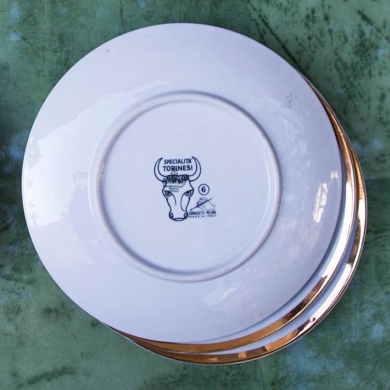 Fornasetti Piemontesi Plates Set of 12, Italy, 1950s 9