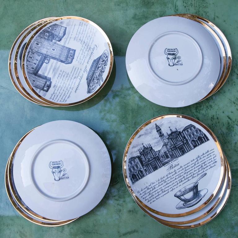 Fornasetti Piemontesi Plates Set of 12, Italy, 1950s 7