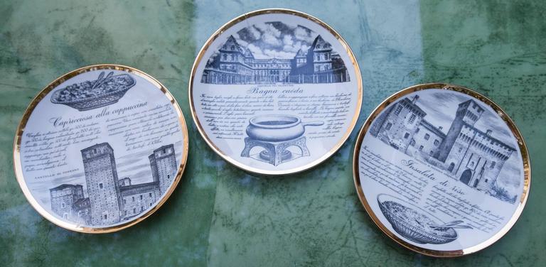 Fornasetti Piemontesi Plates Set of 12, Italy, 1950s 3