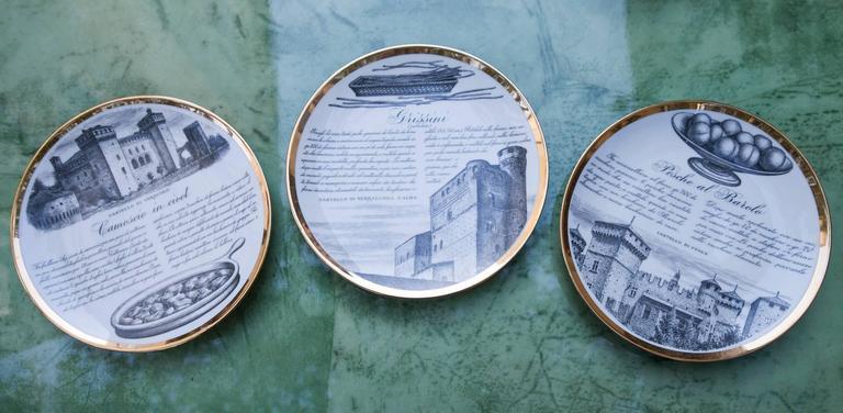 Fornasetti Piemontesi Plates Set of 12, Italy, 1950s 4