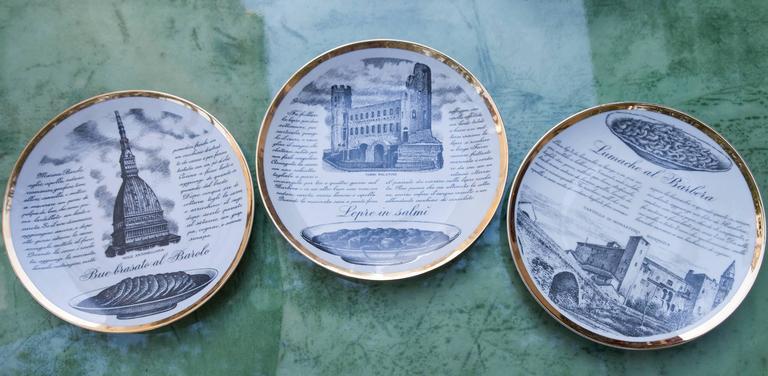 Fornasetti Piemontesi Plates Set of 12, Italy, 1950s 5