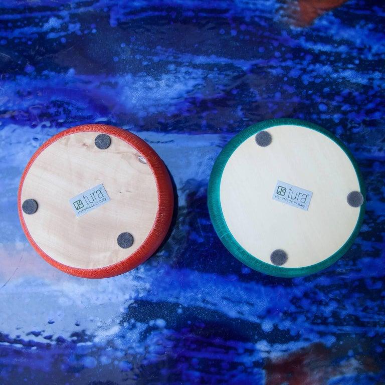 Contemporary Aldo Tura Colorful Goatskin Bowls Set of Two For Sale