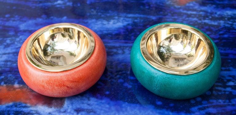 Italian Aldo Tura Colorful Goatskin Bowls Set of Two For Sale