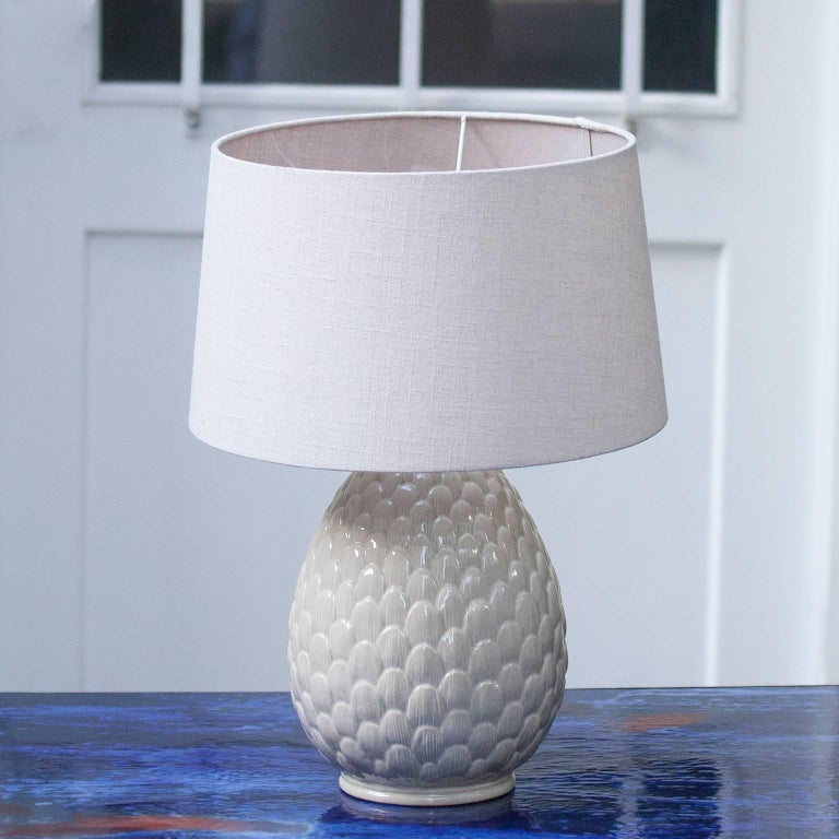 Elegant porcelain artichaut table lamp with cream fabric shade from Italy, 1970s.