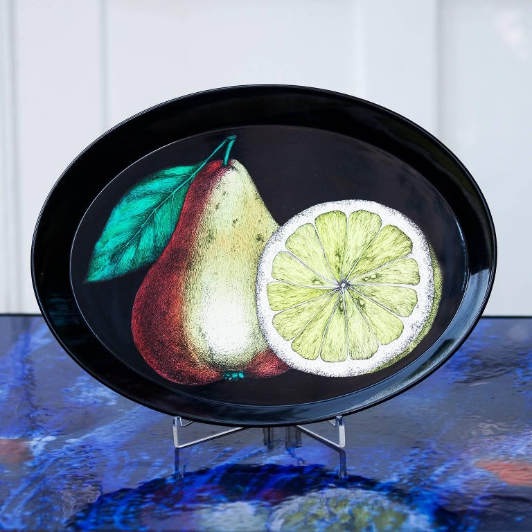 Very rare original Piero Fornasetti oval tray, Italy, circa 1950, metal, lacquered,