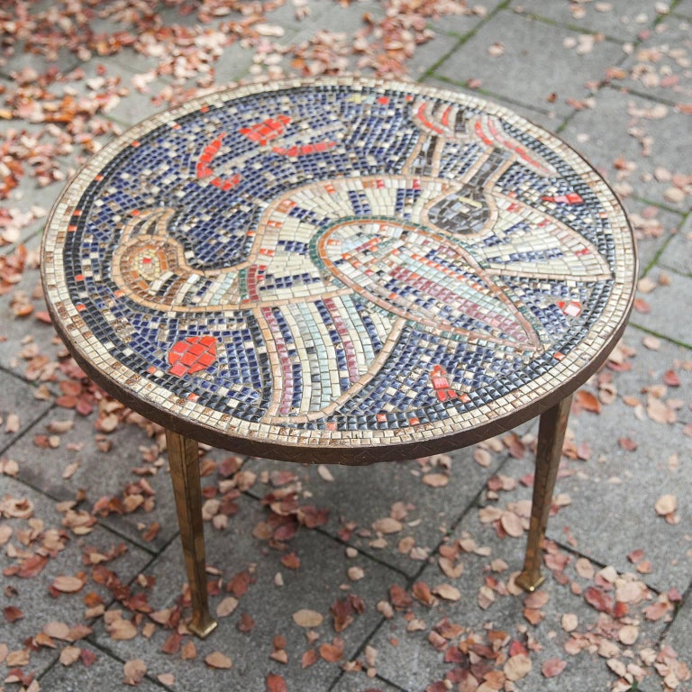 Metal Mosaic Art Deco Table Bird, Italy, 1930s For Sale