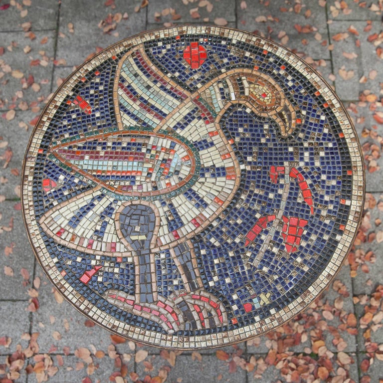 Mid-20th Century Mosaic Art Deco Table Bird, Italy, 1930s For Sale