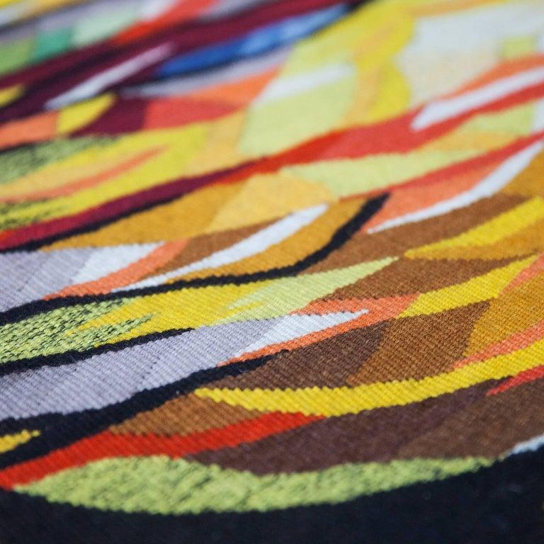 "German Dirk Holger ""Feuersonne"" Gobelin Wall Carpet For Sale"