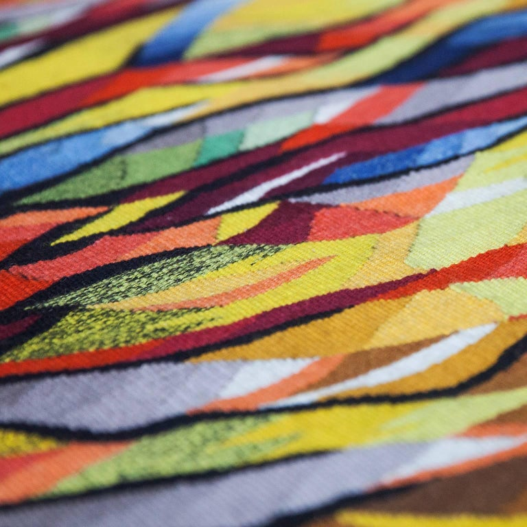 "Wool Dirk Holger ""Feuersonne"" Gobelin Wall Carpet For Sale"