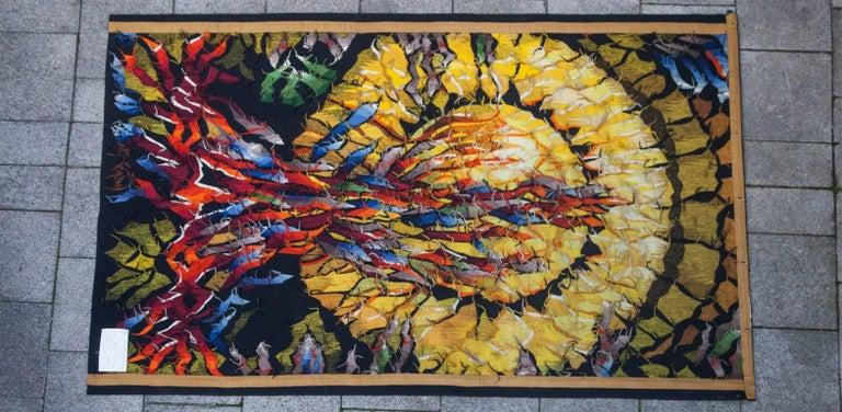 "Mid-Century Modern Dirk Holger ""Feuersonne"" Gobelin Wall Carpet For Sale"