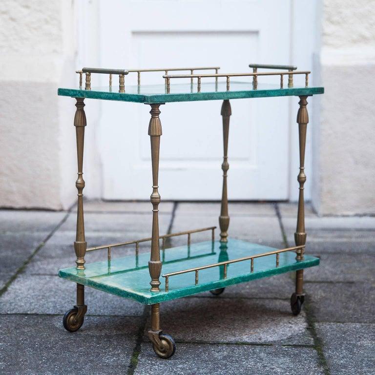 Italian Aldo Tura Small Green Goatskin Rectangular Serving Cart For Sale