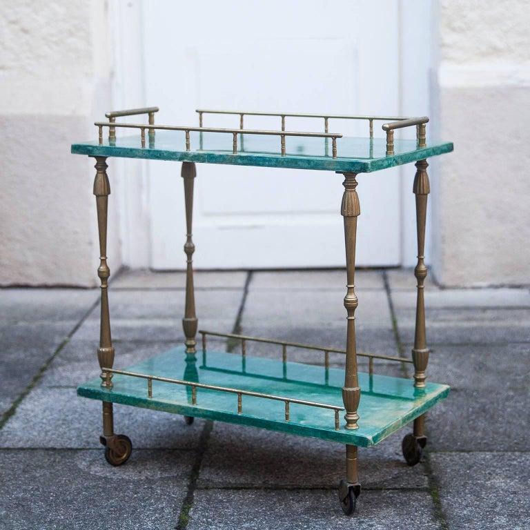 Hollywood Regency Aldo Tura Small Green Goatskin Rectangular Serving Cart For Sale