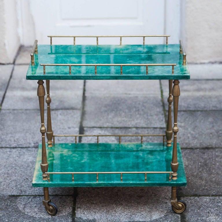 Brass Aldo Tura Small Green Goatskin Rectangular Serving Cart For Sale