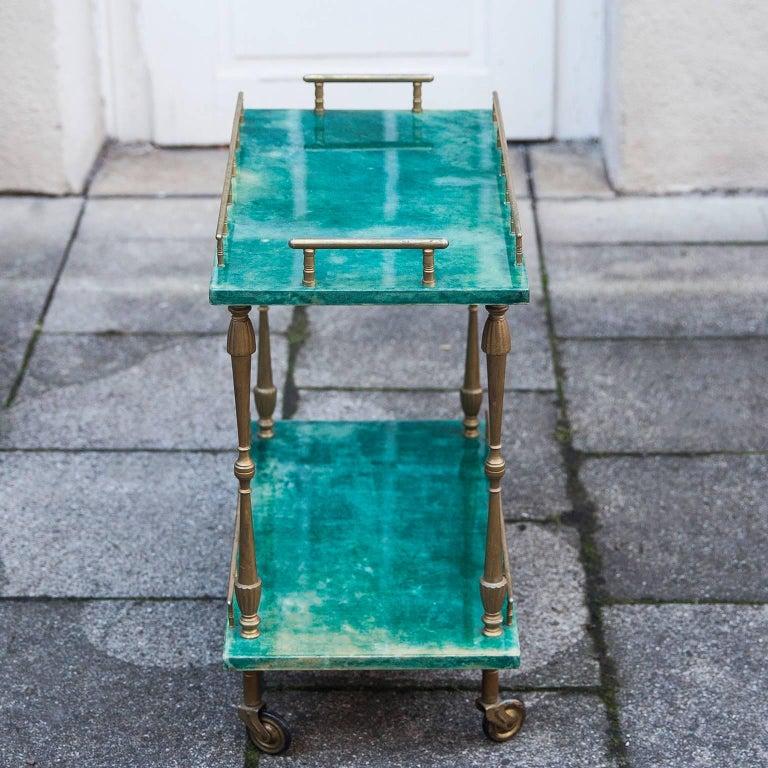 Aldo Tura Small Green Goatskin Rectangular Serving Cart In Good Condition For Sale In Munich, DE