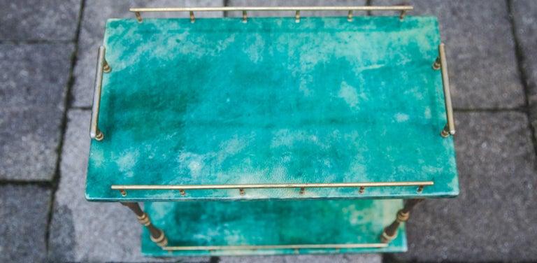 Mid-20th Century Aldo Tura Small Green Goatskin Rectangular Serving Cart For Sale