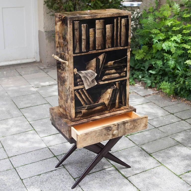 Hollywood Regency Aldo Tura Goatskin Books Bar Cabinet For Sale