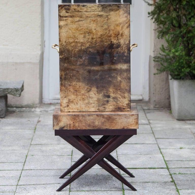 Aldo Tura Goatskin Books Bar Cabinet For Sale 1