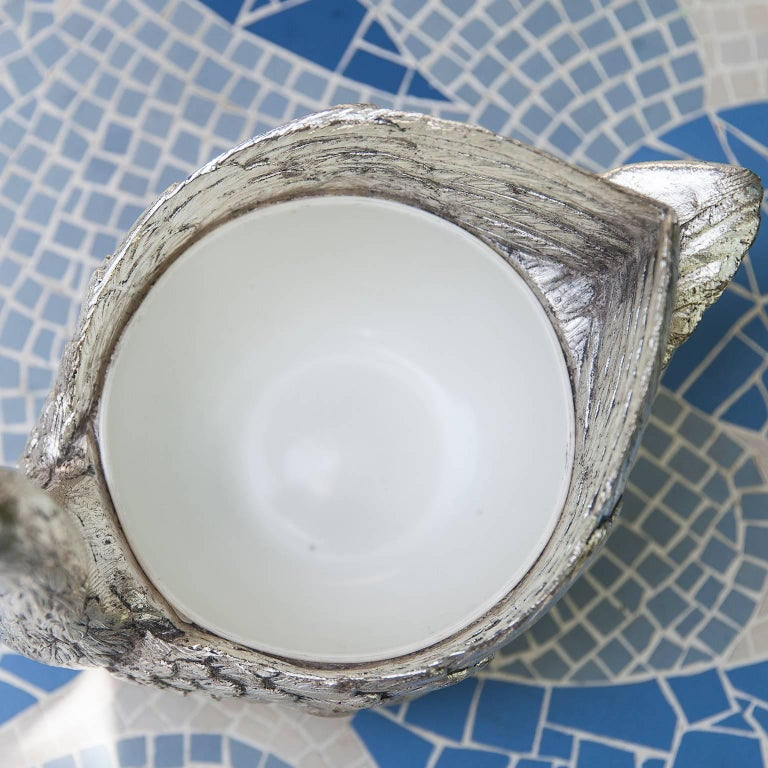 Metal Mauro Manetti Silver Plated Swan Ice Bucket, Italy, 1970s For Sale