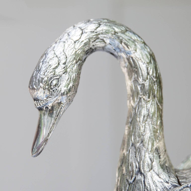 Mauro Manetti Silver Plated Swan Ice Bucket, Italy, 1970s For Sale 2