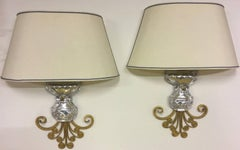 very unusual maison bagues wall scones gilded metal, silver detail and crystal.