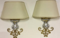 very unusual maison bagues wall scones gilded metal and crystal .